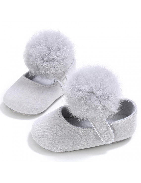 Infant Baby Girl Cute Pom Pom Anti-Slip Crib Shoes Pre-Walker Shoes 0-18M, 5 Colors (Grey, 1/0-6 Months)