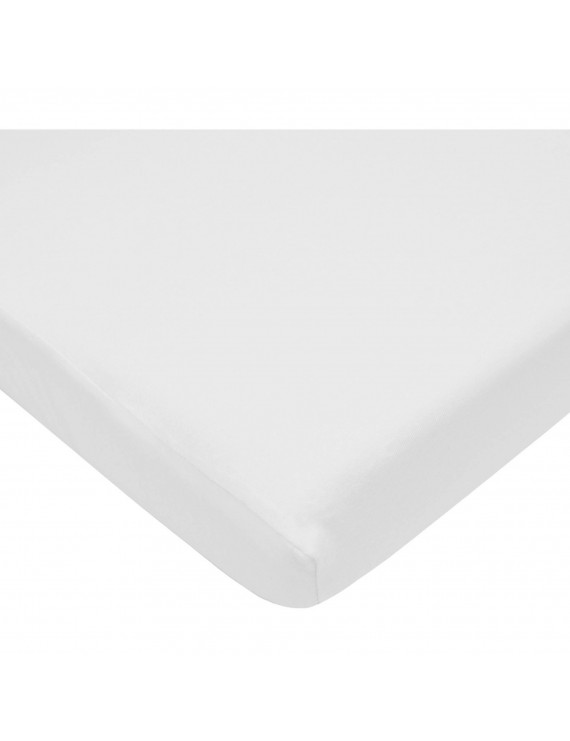 TL Care 100% Cotton Jersey Knit Fitted Crib Sheets, White