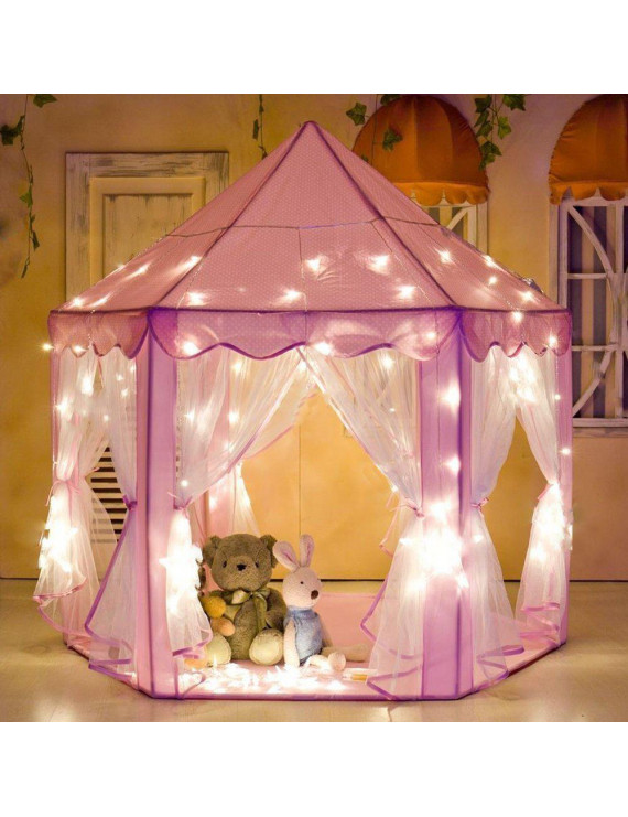 "Porpora Hexagon Princess Castle Play Tent Indoor for Kids Gift with 23ft star lights, X-Large, Pink 55""x 53""(DxH) 8 Pack"