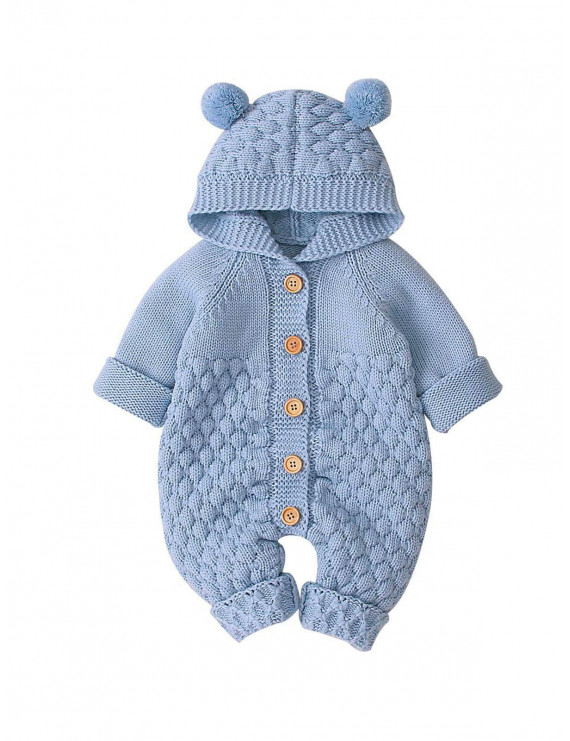 Kid Baby Boy Girl Warm Outfit Knitted Jumpsuit Bottom Overall Clothes
