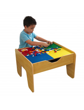 KidKraft Wooden 2-in-1 Activity Table with Board - Natural with 230 accessories included