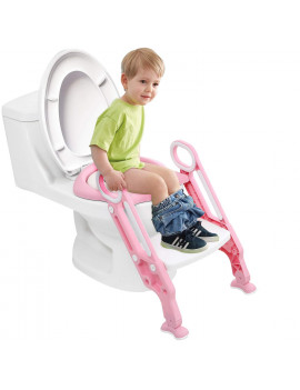 AUGIENB Adjustable Kids Training Potty Trainer Toilet Seat Safety Seat Chair Toddler with Ladder Step Up Stool Non-slip Folding Seat for Boys and Girls