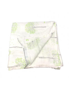 "100% Bamboo Rayon Baby Swaddle Blanket (French Green Flora) 47""x47"""