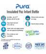 Pura Kiki 9 oz / 260 ml Stainless Steel Insulated Infant Bottle with Silicone Medium-Flow Nipple & Sleeve, Natural Mirror (Plastic Free, NonToxic Certified, BPA Free)