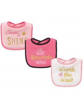 Luvable Friends Baby Boy and Girl Drooler Bibs, 3-Pack - Sparkle