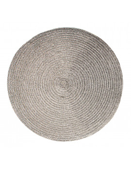 Christmas Carol Woven Spiral Table Placemats 15 Inches Round Set of 4 Non-Slip Dining & Kitchen Table Mats Silver