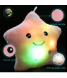 Creative Twinkle Glowing Stars Shape Plush Throw Pillow, LED Night Light Pillow Cushions Stuffed Toys Gifts for Kids, Christmas (Pink)