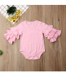 Autumn Newborn Infant Baby Girl Clothes Layers Ruffle Long Sleeve Romper Cotton Baby clothes