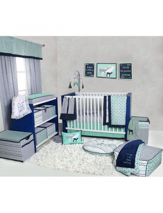 Bacati - Noah Tribal Mint/Navy 10-Piece Nursery in a Bag 100% Cotton Percale Unisex Crib Bedding Set with 2 crib fitted sheets