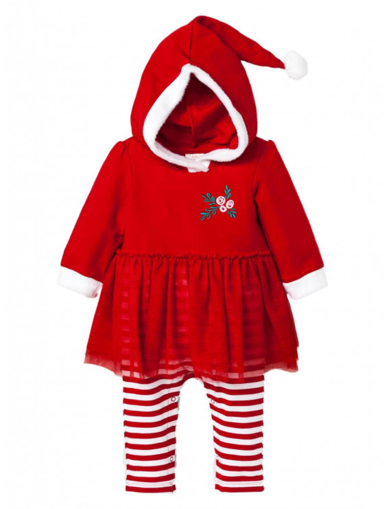 Infant Girls Red & Whtie Striped Mrs Santa Claus Holiday Tutu Baby Outfit