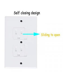 (2-Pack) Safety Outlet Cover by KinderGard, Self-Closing Socket Protector for Baby Proofing Outlets (Bulk Packed)