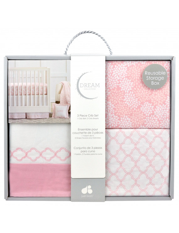Just Born Dream 3-Piece Crib Bedding Set, Pink/White