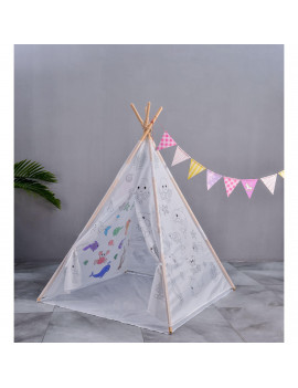 E-joy Paintable graffiti Indian Teepee Tent creative Kid Painting Play TentChild gift birthday gift play house -UnderSeaPaintTeepee1pc