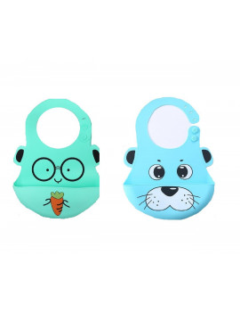 (Pack of 2) Most Hygenic Silicone Baby Bib with Cute Characters, Blue Panda + Green Carrot by Baby Classic
