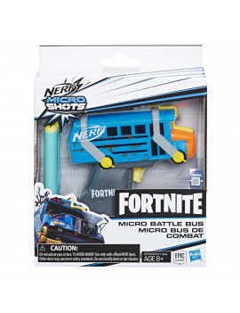 Fortnite Micro Battle Bus Nerf MicroShots Dart-Firing Toy Blaster and 2 Official Nerf Elite Darts
