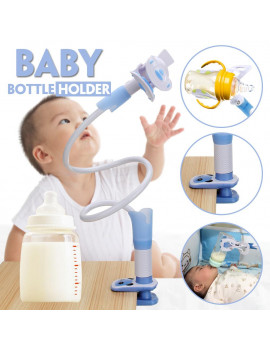 360° Adjustable Baby Bottle Holder Bracket Hands Free Feeding, Twins, Triplets Fix Baby Strollers or Bed