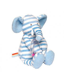 """Manhattan Toy Baby Activity Plush Toy with Ring Rattle, Blue Elephant, 10"""""""