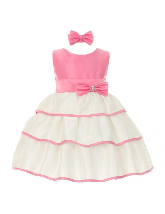 Baby Girls Bubble Gum Pink Bow Sash Special Occasion Dress 3-24M