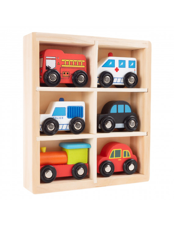 Wooden Car PlaySet-6-Piece Mini Toy Vehicle Set by Hey! Play!