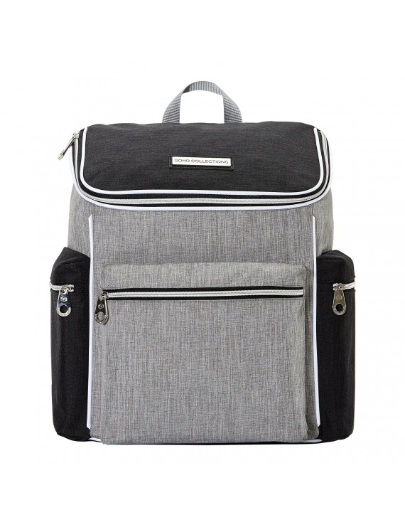 SoHo Backpack Diaper Bag, Cobble Hill, Black and Gray, 5 Piece Set