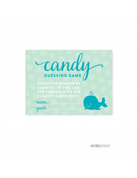 Candy Guessing Game  Boy Whale Nautical Baby Shower Games, 30-Pack