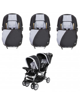 Baby Trend Infant Car Seat & Base (3 Pack) w/ 2 Seat Double Stroller