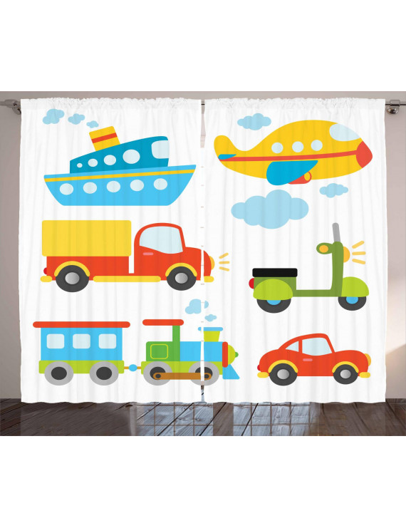 Boy's Curtains 2 Panels Set, Abstract Transportation Types for Toddlers Car Ship Truck Scooter Train Aeroplane, Window Drapes for Living Room Bedroom, 108W X 63L Inches, Multicolor, by Ambesonne