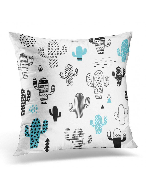 USART Blue Kids Hand Drawn with Cactus Black Scandinavian Pillow Case Pillow Cover 20x20 inch