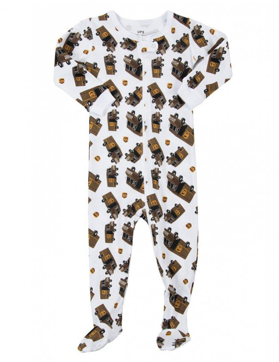 Leveret UPS Truck Footed Pajama Sleeper 100% Cotton White 6-12 Months