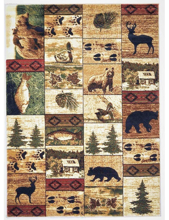 "HR-Cabin Collection 907-Rustic Rugs|5'.2"" by 7'.2""