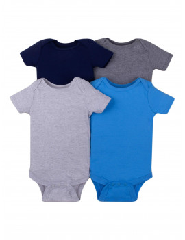 Little Star Organic Baby Boys Short Sleeve Solid Bodysuits, 4-Pack