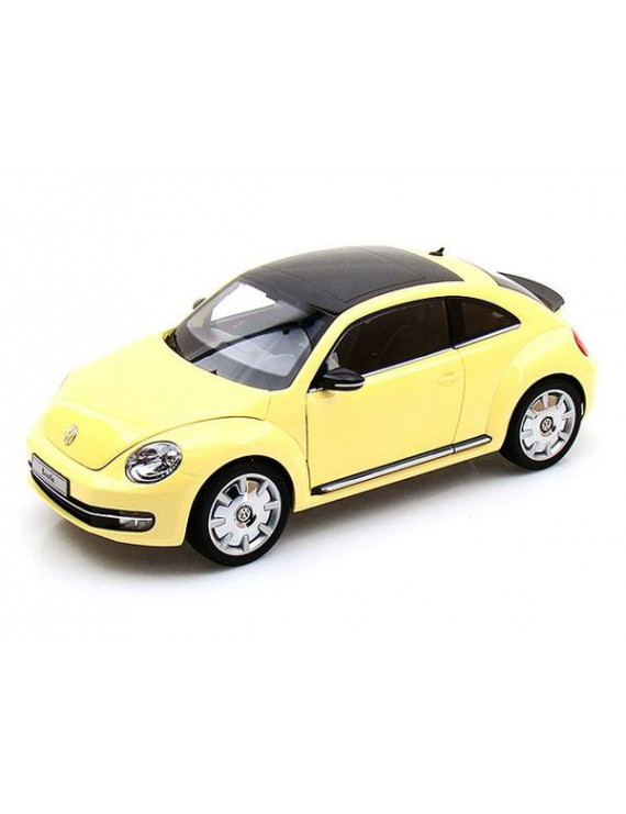 2012 Volkswagen New Beetle Sun Flower Yellow with Black Top 1/18 Diecast Model Car by Kyosho