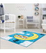 """Ladole Rugs Adorable Cute Durable Soft Modern Moda Collection Kids Area Rug Carpet with Sky Theme and Owls in Blue, 3'9"""" x 5'2"""" (115cm x 160cm)"""