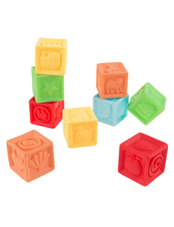 123 Soft Rubber Blocks-BPA-Free Squeezable Numbers Building Block Set-Classic Educational Learning Toy by Hey! Play!