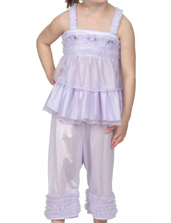 Laura Dare Little Girls Lilac Purple Bo Peep PJ Top and Pants w Scrunchie, Sz 4