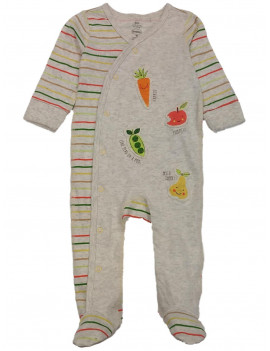 Infant Boys Ivory Like Peas In A Pod Yummy Apple Sleeper Footie Pajamas