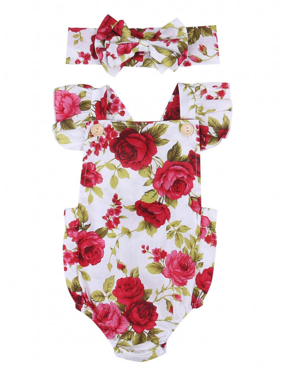 Newborn Infant Toddler Baby Girls Clothes Flower Floral Jumpsuit Romper Bodysuit + Headband Outfits Set