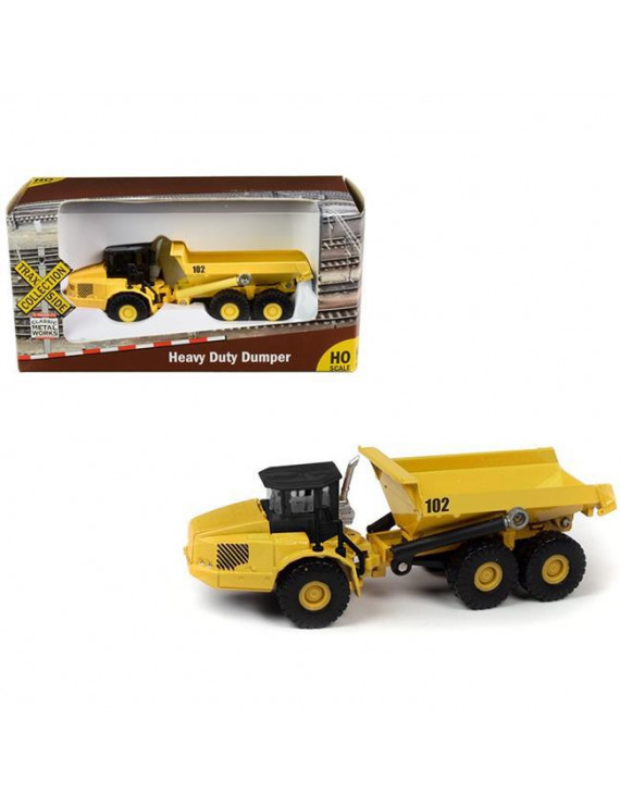 Classic Metal Works TC101B Heavy Duty Dumper Truck Yellow TraxSide Collection 1 by 87 HO Scale Diecast Model