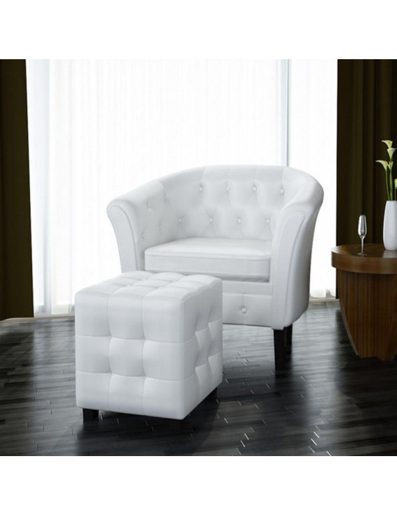 YLSHRF Tub Chair with Footrest White Faux Leather