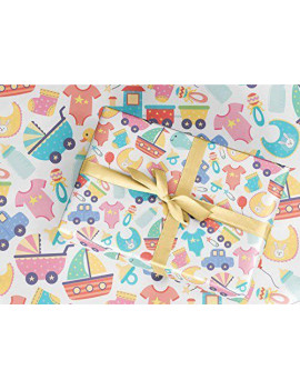 "Baby Shower Wrapping Paper Vintage Style 30x84"" sheet"