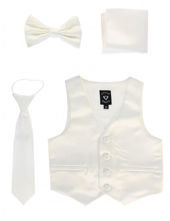 Lito Boys Ivory Satin Vest Zipper Tie Hanky Bowtie Clothing Set