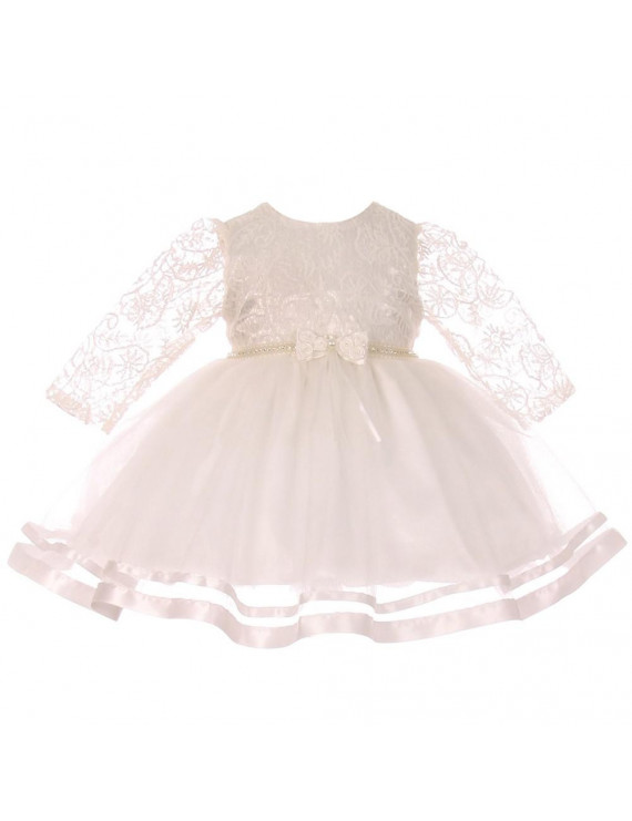 Baby Girls Ivory Lace Tulle Rhinestone Pearl Flower Girls Dress S-XL