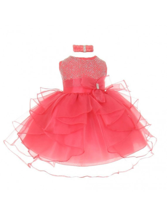 Baby Girls Coral Organza Rhine studs Bow Sash Flower Girl Dress 12M