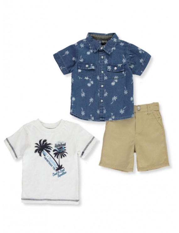 Quad Seven Baby Boys' Task & Training 3-Piece Shorts Set Outfit (Infant)