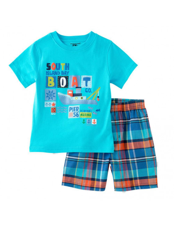 Kids Headquarters Infant Boys 2 Piece Boat Fish Outfit T-Shirt Plaid Shorts 12m