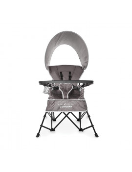 Baby Delight Go with Me Chair | Indoor/Outdoor Chair with Sun Canopy | Gray | Portable Chair converts to 3 Child Growth Stages: Sitting, Standing and Big Kid | 3 Months to 75 lbs | Weather Resistant