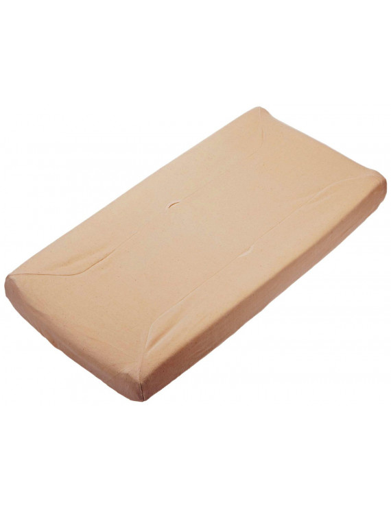 Velour Fitted Contoured Changing Pad Cover made with Organic Cotton, Mocha, for Boys and Girls, Face: made with 100% organic cotton, Back: 80% organic cotton/20%.., By TL Care