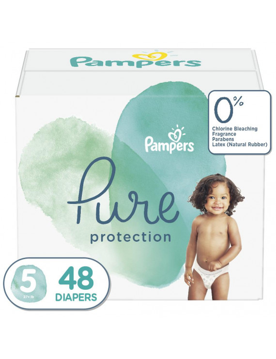 Pampers Pure Protection Natural Diapers, Size 5, 48 ct