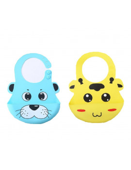 (Pack of 2) Most Hygenic Silicone Baby Bib with Cute Characters, Blue Panda + Yellow Cow by Baby Classic