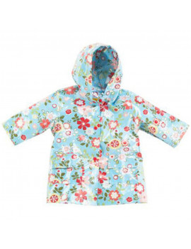 Pluie Pluie Little Girls Blue Size 4-5 Floral Lined Raincoat Outerwear